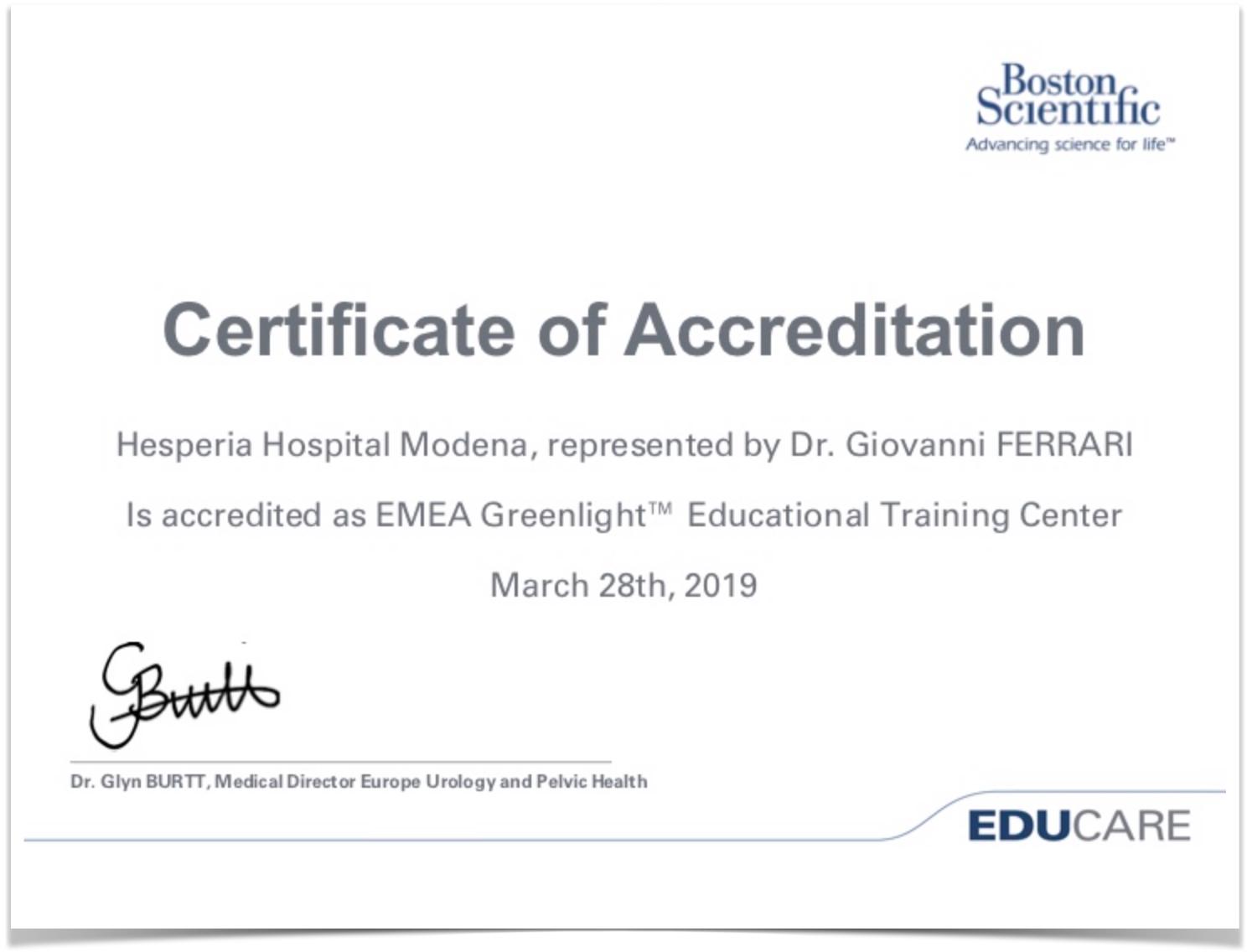 Greenlaser-IT-Certificazione-Boston-Scientific-HESPERIA-HOSPITAL-Centro-di-formazione-Greenlight-Emea